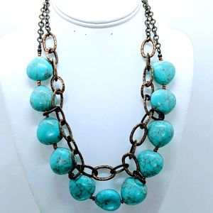 Premiere Design Large Turquoise stones necklace